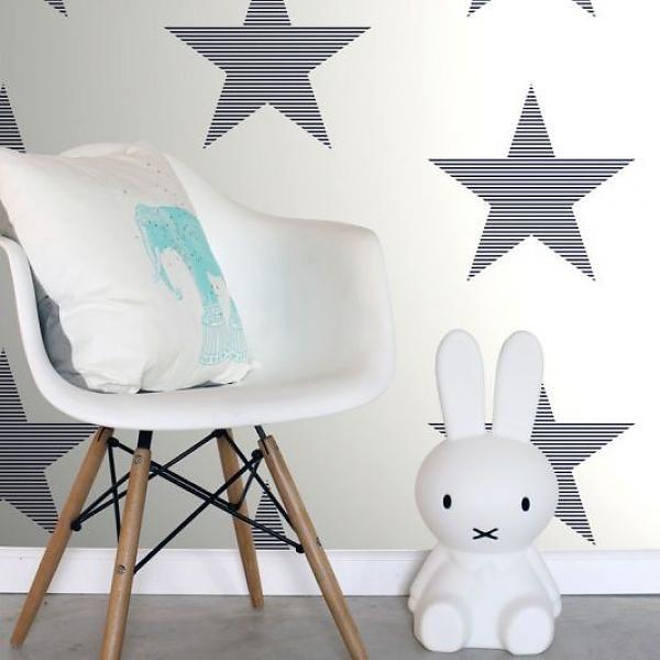 Everybody Bonjour Sterren wit blauw gestreept behang - van de behangwinkelier