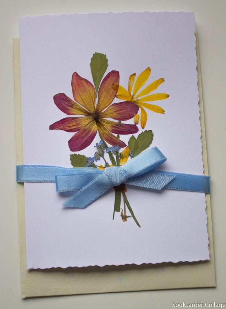 Good Luck Card Pressed flowers card Greeting card Botanical art card OOAK Greeting Card Birthday card Get well card Wedding card Love card by SoulGardenCollage on Etsy
