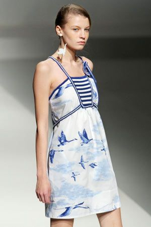 Paris FW SS09 Eley Kishimoto - The collection had a vaguely nautical air - perhaps those birds were sea-faring - with wonderfully wearable wide-legged trousers and blue and white stripe details on pinafore dresses ..