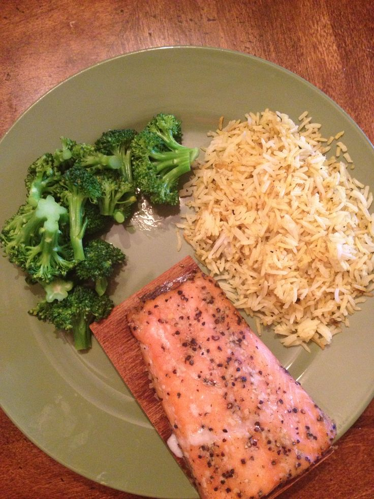 ... baked lemon pepper salmon, asian lemon rice and steamed broccoli