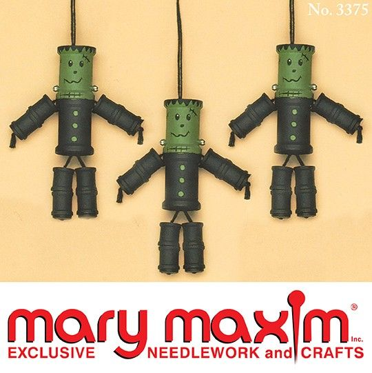 make these frankenstein decorations for halloween or to hang on your halloween tree use empty