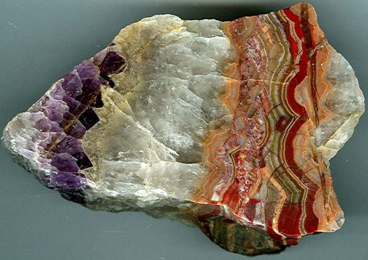 Agate with amethyst, founded in 1985 at the Saxony, Germany. 18 cm wide, polished plate.  Geology Wonders