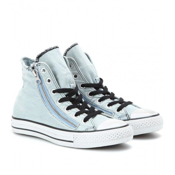 Converse Chuck Taylor Double Zip Denim High-Tops found on Polyvore