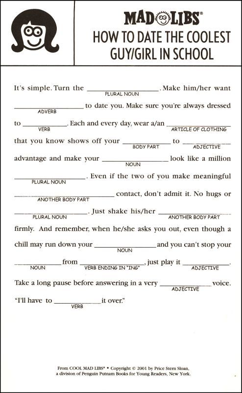 Influential image within mad libs printable