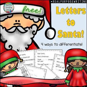 Letter to Santa, free! Writing for real purposes. #DifferentiateByPrinting #kindergarten #Santa #letter #Christmas #teaching #writeforrealpurposes