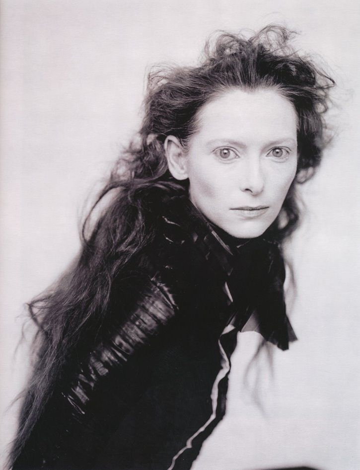 messy curls + fresh face . Tilda Swinton, Photographed by Paolo Roversi, Paris circa 1996