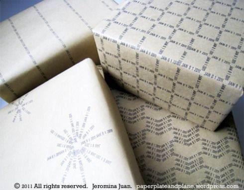 Create wrapping paper with a date stamper,what a great idea!