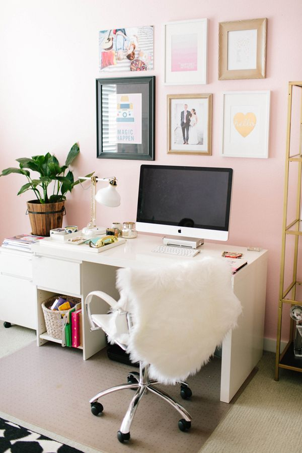 cozy, girly workspace
