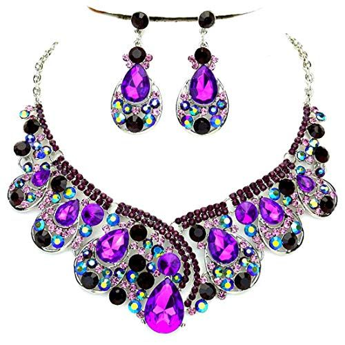 7747235a2e7fac Affordable Wedding Jewelry Purple Ab Rhinestone Crystal Statement Silver  Chain Necklace Earrings Set