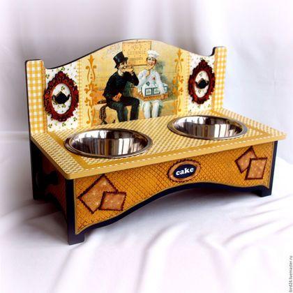 """Аксессуары для собак, ручной работы. Ярмарка Мастеров - ручная работа. Купить Интерьерная подставка под миски """"Кафе Печенюшка""""(авторский дизайн). Handmade."""