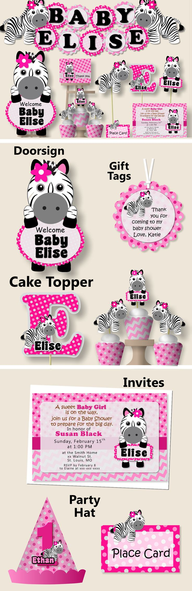 Pink Baby Girl Zebra Baby Shower Decorations, Zebra Birthday Party Supplies - Package, Invitation, Cake Topper, Favors, Cupcakes, Invite #bcpaperdesigns