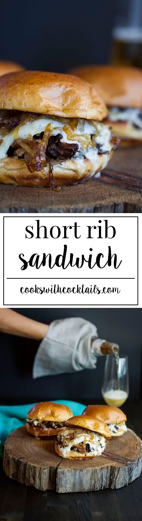 A boneless rib sandwich made with braised short ribs, sweet caramelized onions, melted brie and wine jelly all on a buttered toasted brioche bun.
