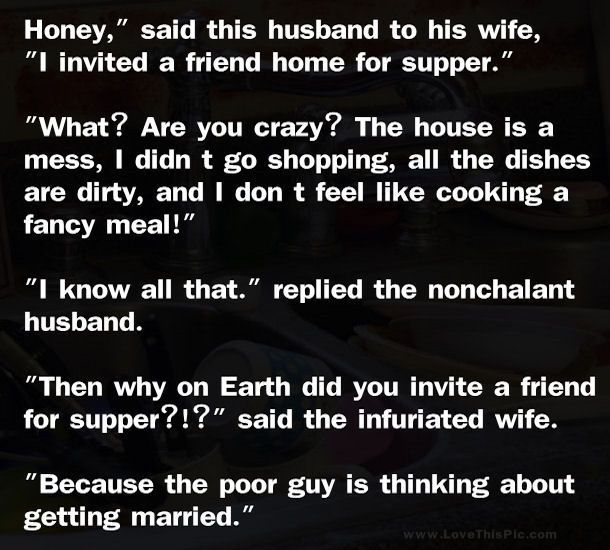 Funny Marriage Joke... funny jokes story lol funny quote funny quotes funny sayings joke hilarious humor stories marriage humor funny jokes