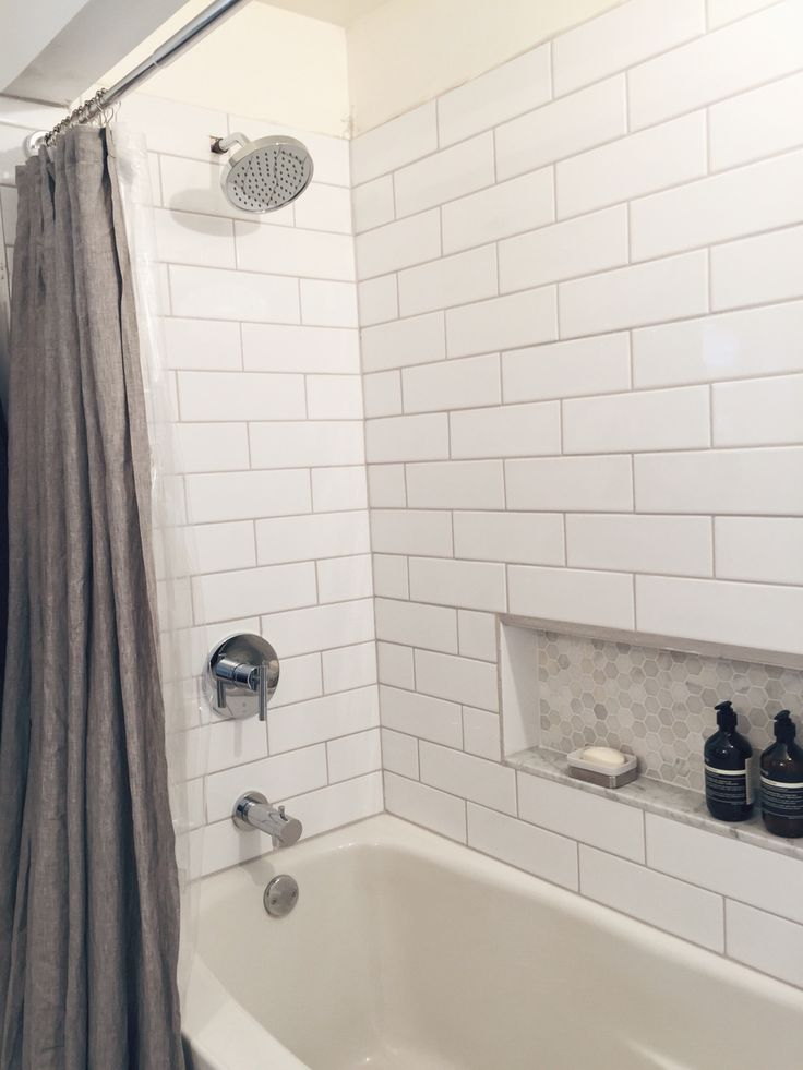 Shower Reno Diy With White Subway Tiles And Marble Hex