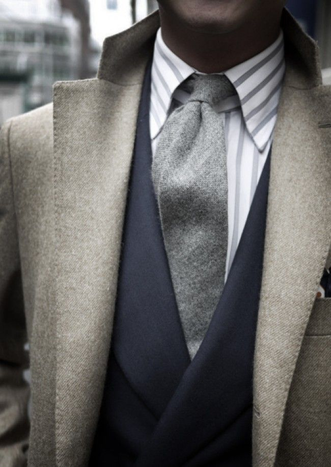 Wool Ties   grey wool tie men jacket striped shirt men