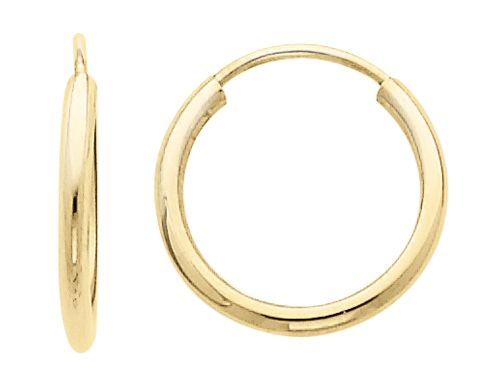 Small Hoop Earrings In 14k Yellow Gold 1 2 Inch 50 Mm