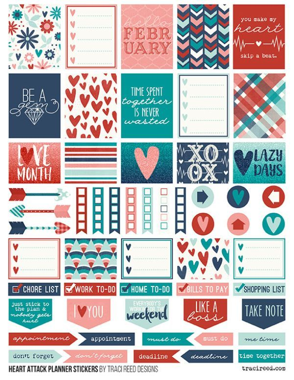 FREE Printable Planner Stickers , February, red, teal, blue, hearts,   for Carpe Diem and Erin Condren Life Planners by Traci Reed