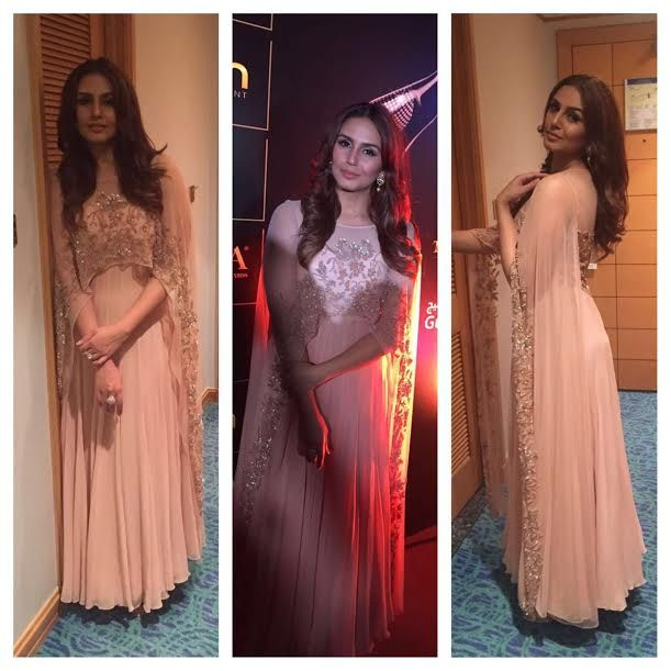Actress Huma Qureshi in a pastel pink cape anarkali by Malasa for TOIFA