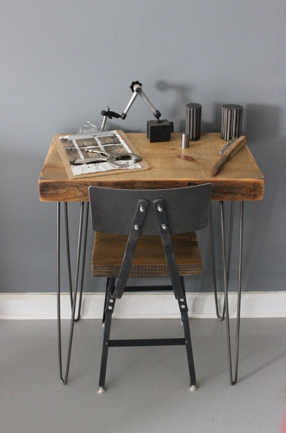 Reclaimed Wood Desk, Urban Wood Architect Desk - Reclaimed Barn Wood and Hairpin Legs - Built by Hand- reclaimed wood furniture store