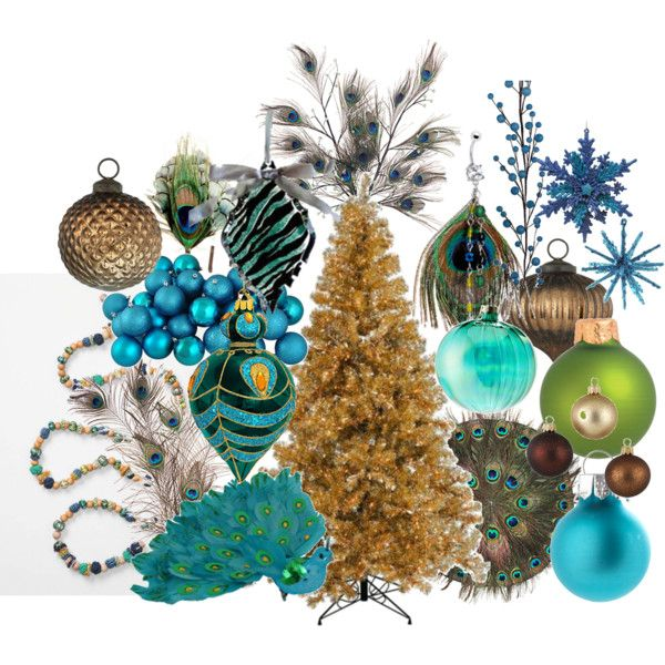 "Search out Peacock Christmas ornaments etc. for Peacock Party Decorations (""Peacock Christmas Tree"" by jenniecallahan on Polyvore)"