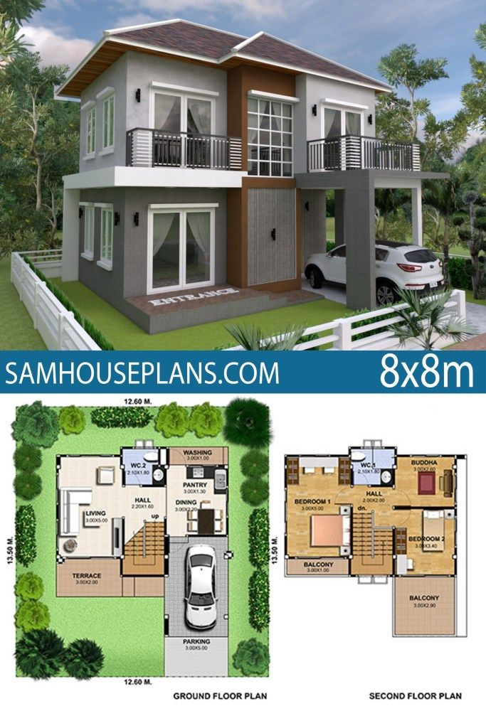 House Plan 8x8m With 3 Bedrooms Sam House Plans House Plans Model House Plan Bungalow House Design