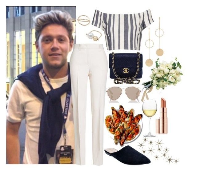 """Dinner with Niall"" by phenomeniall-style ❤ liked on Polyvore featuring MANGO, Topshop, Jil Sander, Adrienne Vittadini, Cloverpost, Chanel, Nordstrom, Christian Dior, Estée Lauder and Global Views"