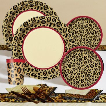adult Cheetah Print Party Theme | Cheetah/Leopard Print Party Pack for 16