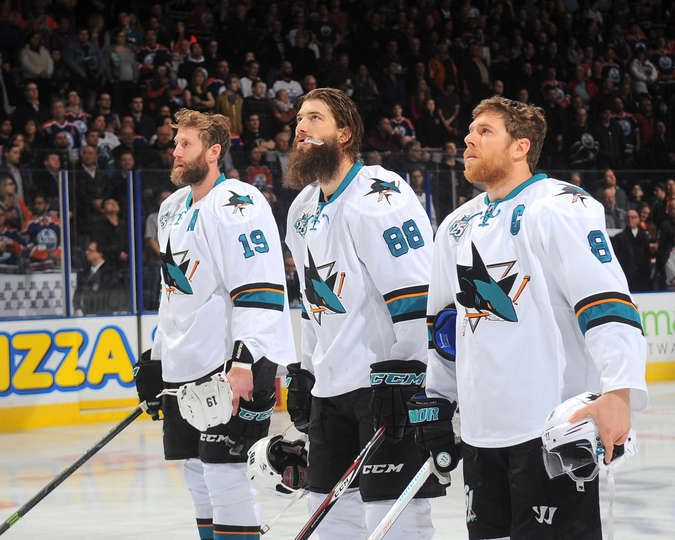 San Jose Sharks forwards Joe Thornton, Joe Pavelski and defenseman Brent Burns (Dec. 9, 2015).