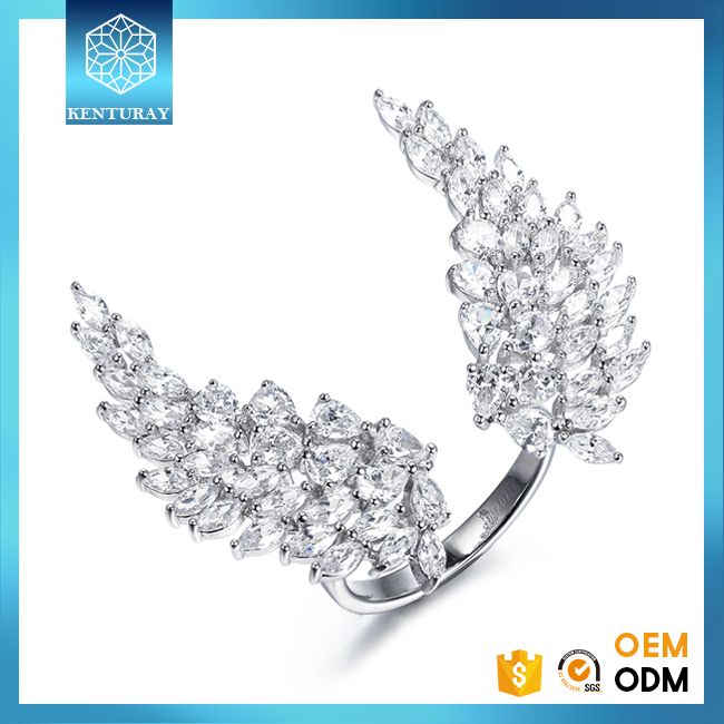 925 Sterling Silver Price Per Gram Diamond Aaaaa Cubic Zirconia Angel Wing Ring