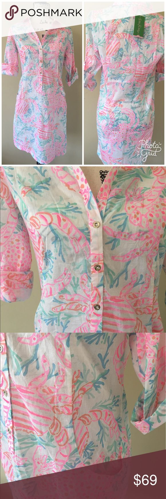New Lilly Pulitzer Sanibel swim cover up dress Brand new with tags  Lilly Pulitzer  Sanibel tunic dress  Swim cover up  Ladies size small   White semi sheer cotton with whimsical crab print.  Retail $118 Lilly Pulitzer Swim Coverups
