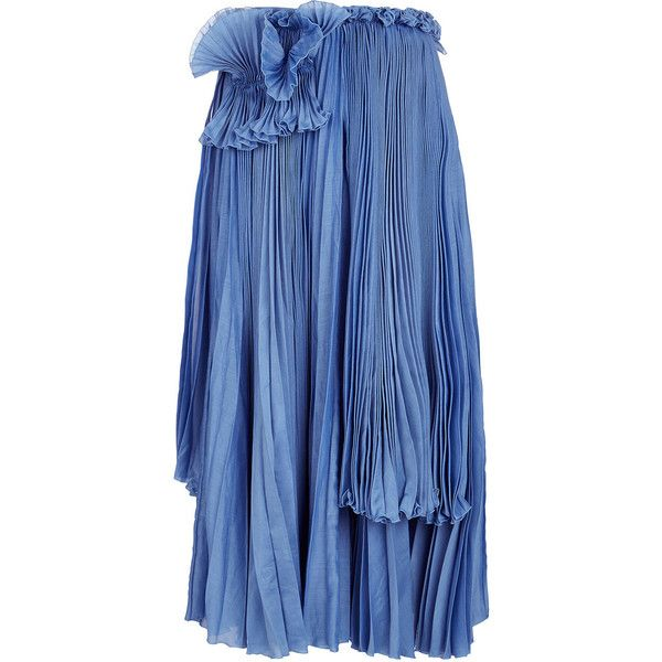 Rochas Cornflower Blue Pleated Detail Skirt ($1,665) ❤ liked on Polyvore featuring skirts, accordion pleated skirt, blue skirt, midi circle skirt, midi skater skirt and ruffle skirt