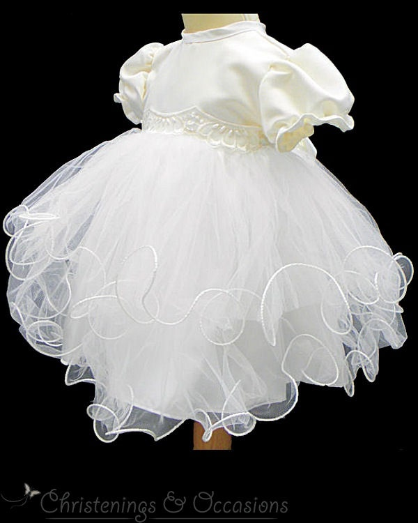 Baby Christening dress flower girl dress in ivory