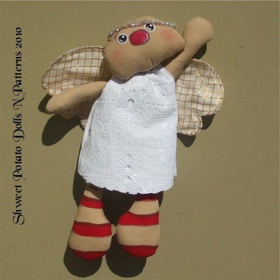 Primitive Flying Raggedy Angel Cloth Doll. y.