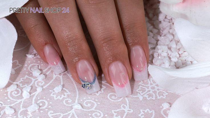 """#french #white #glimmer  #nails #nailart Nailart French-white-Glimmer """"Lovely Heart"""" Traumhaft schimmernde French-Nails sind immer ein toller Hingucker. Mit wenigen Handgriffen lassen sich weiße Nagelspitzen in glamouröse Kunstwerke verwandeln.  Wie das geht ist, zeigen wir Dir hier. Hier findest Du alle verwendeten Produkte: http://www.prettynailshop24.de/shop/nailart-lovely-heart-video_572.html#Produkte"""