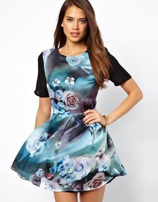 True Decadence Skater Dress In Floral Print