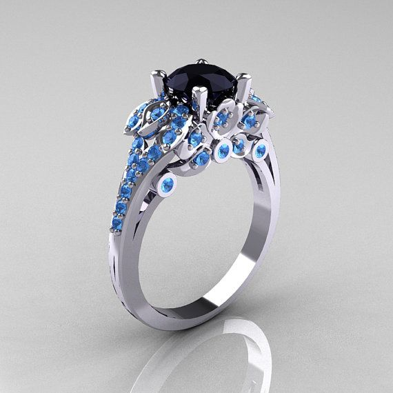 Classic 14K White Gold 1.0 CT Black Diamond Blue Topaz Blazer Wedding Ring R203-14KWGBTBD – Ray Hamilton