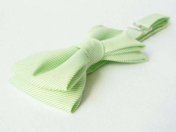 Bow Tie by BartekDesign: pre tied apple green high quality cotton wedding groomsman chic bridesman men women