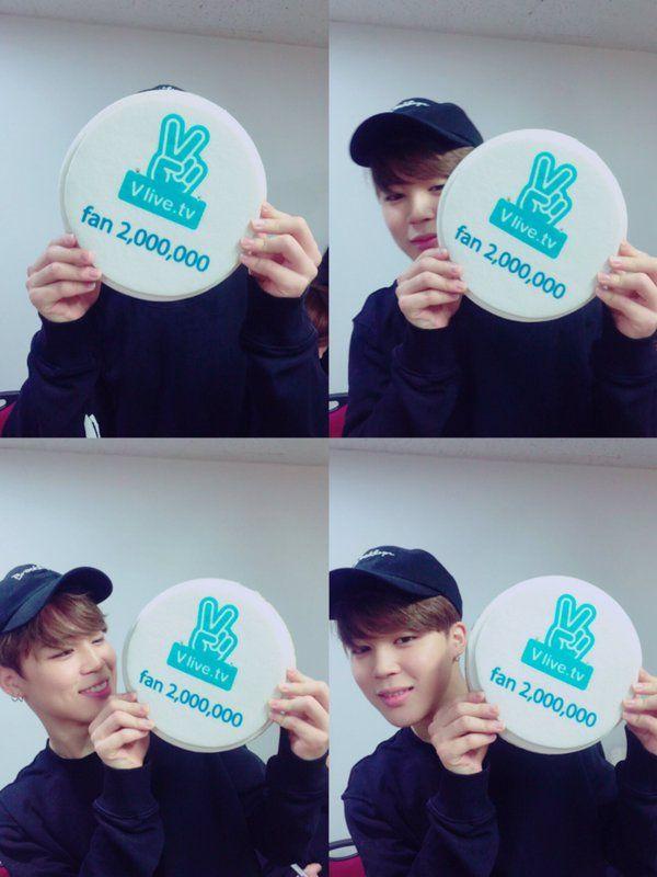 Jimin ❤ BTS congratulations for 2 milion followers on the V app.