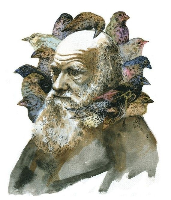 Charles Darwin with finches