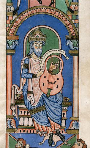 David playing a harp.  German, 12th century.  British Library.