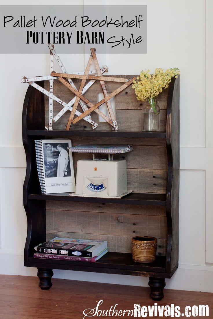 Custom Built Pallet Wood Bookshelf ~ Pottery Barn Style