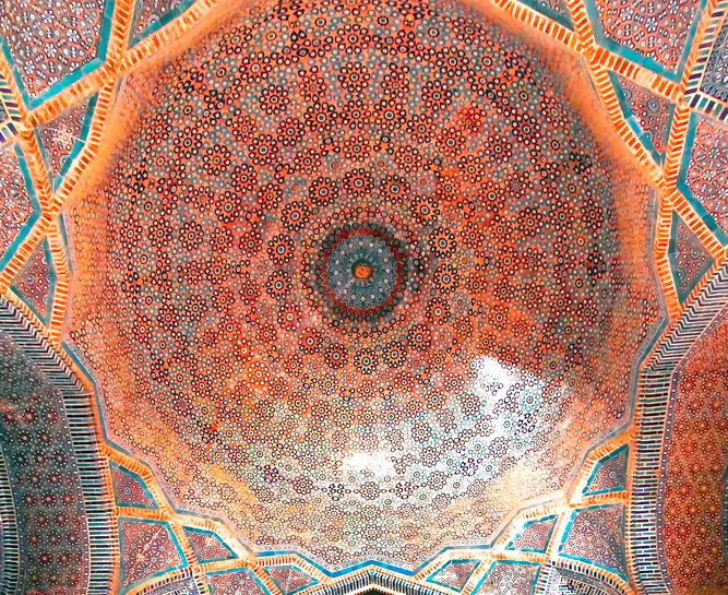 """""""Geometric patterns inside a dome in the Shah Jahan Mosque in Thatta, Pakistan. Built in 1647 by the Mughal Empire. """""""