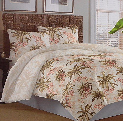 Tommy Bahama Bonny Cove Tropical Comforter Set, which comes with a comforter, two king pillow shams, and one king bedskirt.  Get this tropical themed quilt.