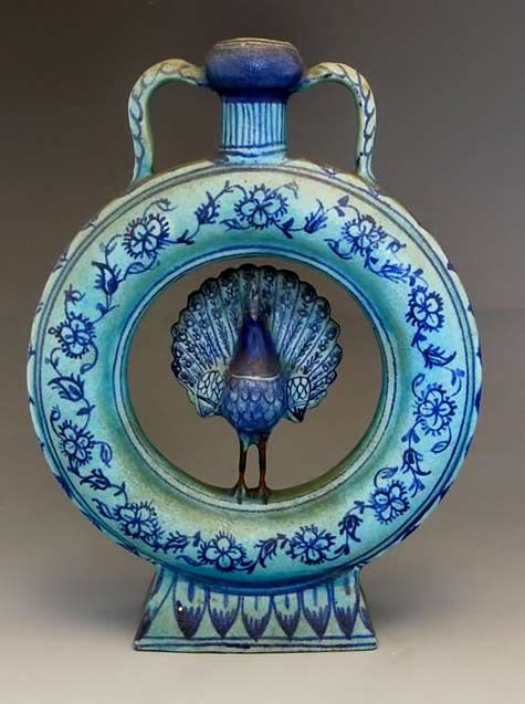 Persian Qajar ceramic peacock vessel  19th Century