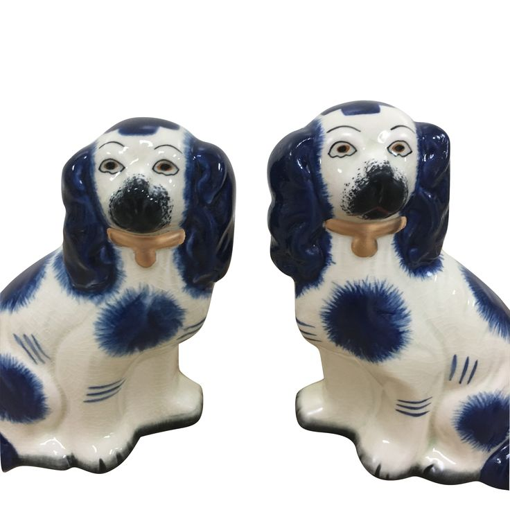 New! Fabulous pair of blue/ivory Staffordshire dogs (3 Sizes)