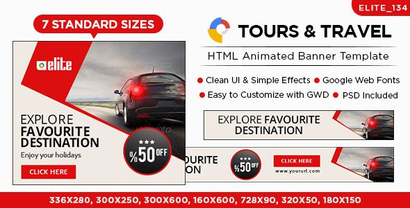 HTML5 Tours & Travels Banners - GWD - 7 Sizes(ELITE-CC-134)
