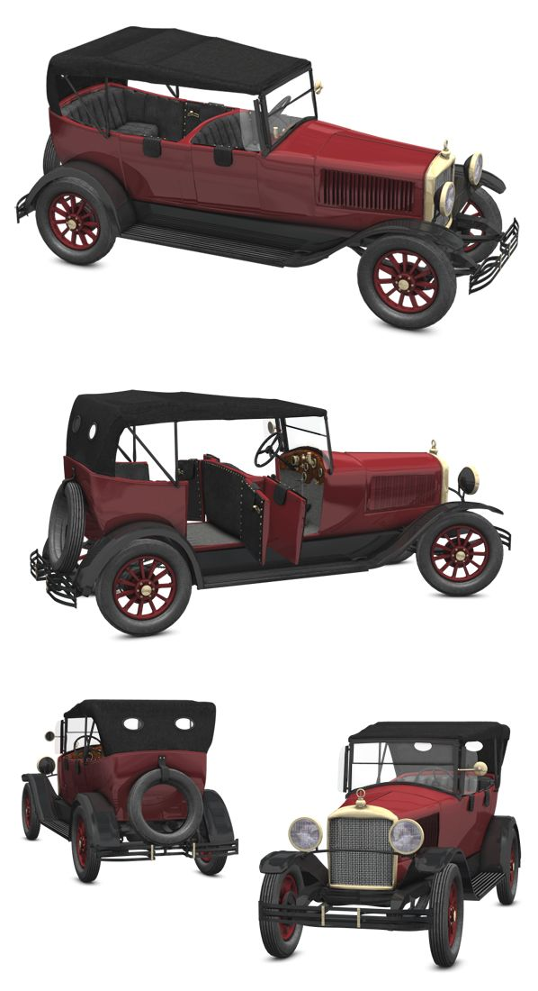 This is 3d model inspired in the 1918 page six car.  It is modelled in wings3d and rendered in Poser.