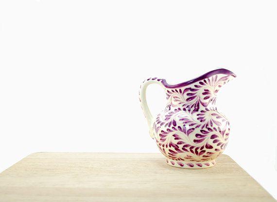 Purple pitcher - Hostess gifts - purple kitchen decoration - serving sauce bowl - eggplant ceramics - rustic kitchen decor