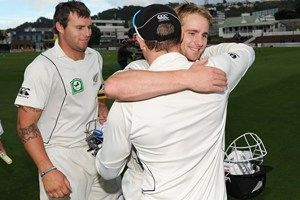 Hugs all round after drawing the third test against South Africa [March 27]