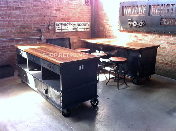 Vintage Industrial Kitchen Island / Antique Cart / Utility Table / Cabinets